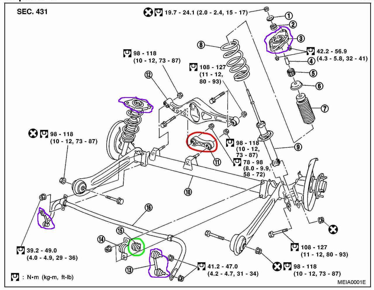 Nissan primera p12 схема передней подвески
